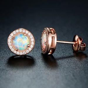 18K Rose Gold Plated White Fire Opal earrings